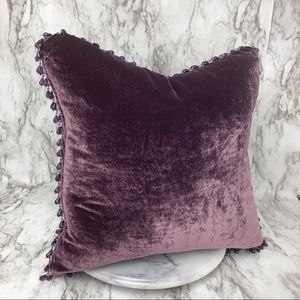Velvet beaded trim accent pillow plum Victorian